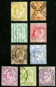 Cape of Good Hope Stamps # 63-71 Used VF Scott Value $45.00