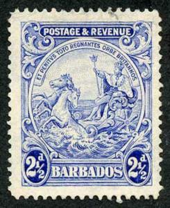 Barbados SG233 2 1/2d Blue Major re-entry top right fine used