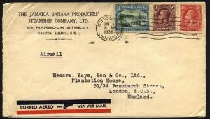 JAMAICA 1938 airmail cover to UK - nice GV franking........................96161
