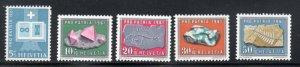 Switzerland Sc B303-7 1961 Pro Patria Fossils stamp set mint NH