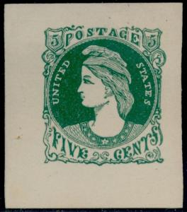 #73-E5a SUPERB PLATE ESSAY ON WHITE WOVE (GREEN) BQ5975
