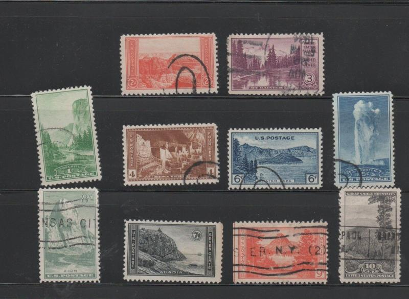 USA USED STAMPS scott 740-749 NATIONAL PARKS SET 28 1018