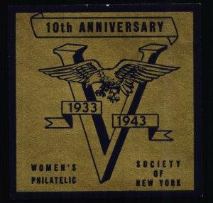 10th Anniversary Women's Philatelic Society of NY - HR - 1933