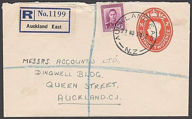 NEW ZEALAND 1950 GVI 2d envelope uprated - Registered ex AUCKLAND EAST......B706