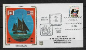 1976 Cachet Cover, Sailing Ships  ERIKA Switzerland Operation Sail, VF (RN-8)