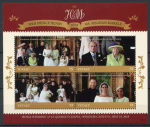 Tuvalu Royalty Stamps 2018 MNH Prince Harry & Meghan Royal Wedding 4v M/S