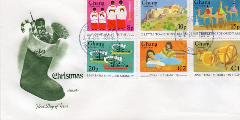 GHANA  1979 Sc# 692/697  CHRISTMAS CAROLS  SET PERFORATED  (6) FDC