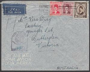 EGYPT TO AUSTRALIA 1940 cover Sydney Paquebot - HM Ship Censor.............55155