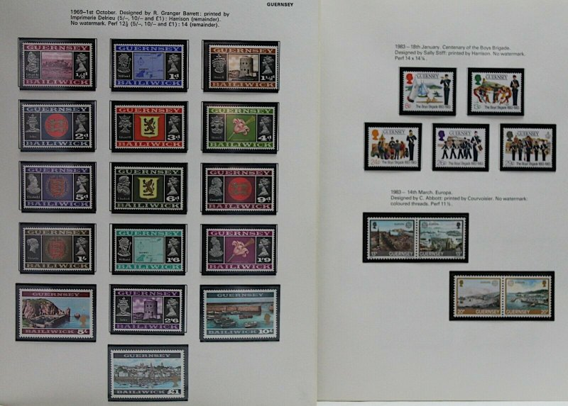 GB Guernsey 1969/85 strong collection of complete sets and sheetlets UM Stamps