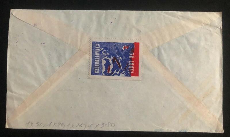 1947 Guatemala Commercial Airmail Cover to Prague Czechoslovakia Back Seal