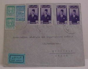 SYRIA  5P REVENUE USED FOR POSTAGE DAMAS 1949 TO SWEDEN