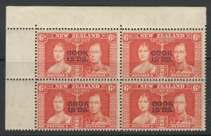 Cook Islands, Scott 111 var, SG 126 var, MNH block, Tear Flaw on Pos. 1