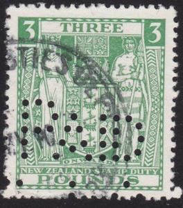 NEW ZEALAND ARMS TYPE STAMP DUTY £3 used...................................67935