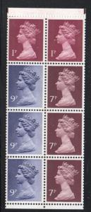 Great Britain Sc MH67a 1976 1p, 7p ,9p Machin Head booklet pane of 8 mint NH