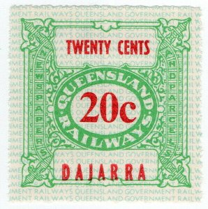 (I.B) Australia - Queensland Railways : Parcel Stamp 20c (Dajarra)