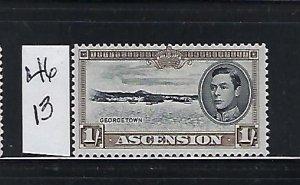 ASCENSION IS. SCOTT #46 1938-53 GEORGE VI 1SH (DK BROWN)- PERF 13-MINT LH