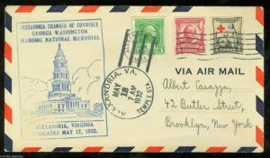 UNITED STATES 1932 MASONIC NATIONAL MEMORIAL DEDICATION COVER ALEXANDRIA VA