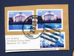 USA - 3647 - Three used on piece - $3.85 Jefferson Memorial Priority Mail - 2002