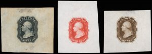 U.S. #11-E10a, b die on India paper, plus die on India, on card, in 3 colors