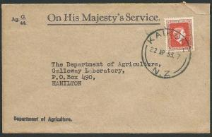 NEW ZEALAND 1955 OHMS cover QE Official 3d, Kaikohe cds....................42212