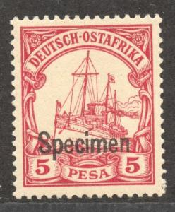SPECIMEN Overprint on German East Africa 5 Pesa Yacht, MNH