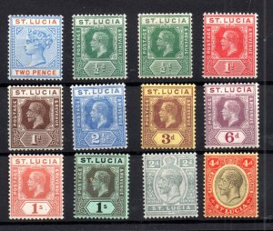 St Lucia QV-KGV mint MH collection x 12V WS14983