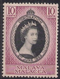 Malaya Malacca 1953 QE2 10ct Coronation MM SG 22 ( R1179 )