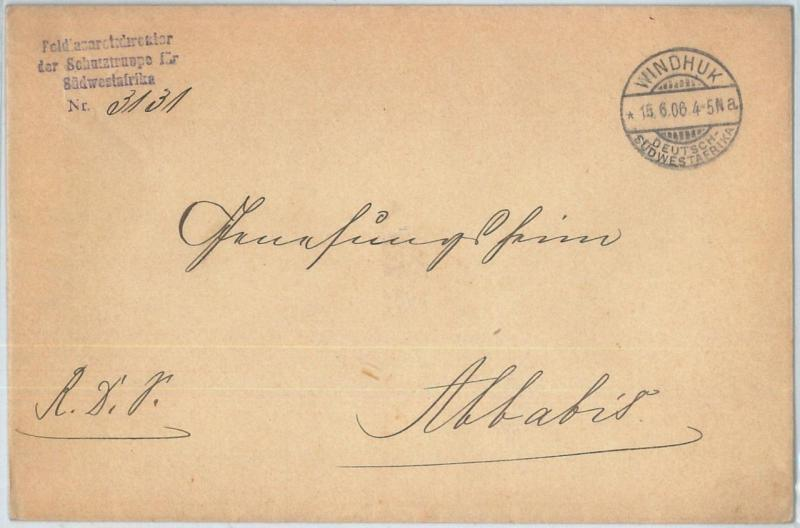 69991 - GERMAN COLONIES: SWA Namibia - POSTAL HISTORY: COVER  from WINDHUK 1906
