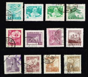 KOREA STAMP 1957 POSTAL EMBLEM WATERMARK STAMPS LOT