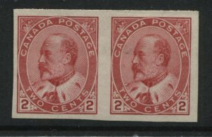 Canada KEVII 1903 2 cents horizontal imperf pair unmounted mint NH