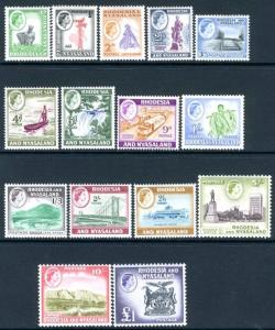 RHODESIA & NYASALAND-1959-62 Set to £1 Sg 18-31 LIGHTLY MOUNTED MINT  V15290