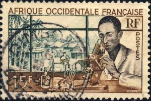 AOF/CÔTE-D'IVOIRE - 1955 CAD DIMBOKRO SUR 15fr LABORATOIRE (Yv.48)