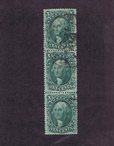SC# 33 & 32, USED VERTICAL STRIP OF THREE, 10 CENT, 1857, VF XF, PF CERT, LOOK.