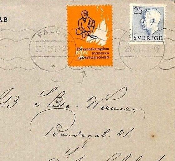 AH87 1955 Sweden SCOUTING LABEL *Falun* Commercial Cover CAMP FIRE COOKERY PTS