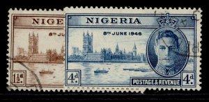 NIGERIA GVI SG60-61, VICTORY set, FINE USED.