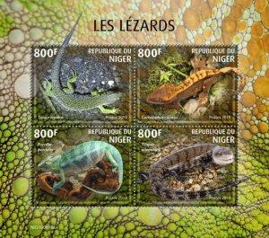 NIGER - 2019 - Lizards - Perf 4v Sheet - MNH