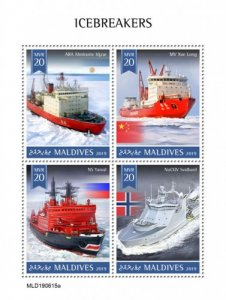 MALDIVES - 2019 - Icebreakers - Perf 4v Sheet - MNH