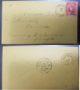 L) 1888 GUATEMALA, LITHOGRAPHED ISSUE: YELLOW ENVELOPE SENT TO MUNICH WITH 1886