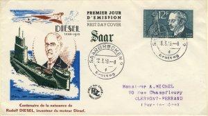 SARRE / SAARGEBIET - 1958 Mi.432 12fr Rudolf Diesel FDC - (FDC)