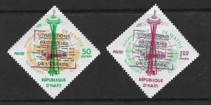 HAITI 503-504 MINT NEVER HINGED VERTICAL OVERPRINT IN BLACK 1963