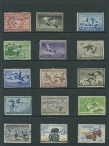 United States Federal Hunting Duck Stamps #RW13-RW48 F/VF Used Set