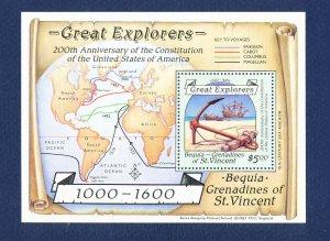 St Vincent Grenadines Bequia - Scott 259 - FVF MNH S/S - Map, USA Bicentenn 1988