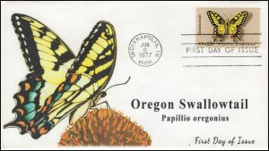 AO-1712,1977, Swallowtail Butterfly, Add-on Cachet, FDC, SC 1712,