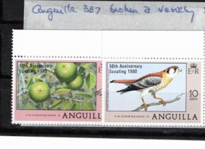 Anguilla 1980 Sc 387-8 MNH Commemorative Perforate Broken 'a' Variety