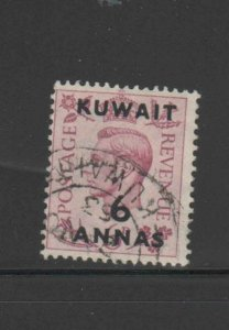 KUWAIT #78  1948  6a on 6p KING GEORGE VI SURCHARGED   F-VF  USED  e