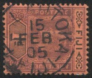 FIJI 1904 Sc 71 Used VF 1d EVII, P. O. LAUTOKA 1905 SOTN postmark/cancel