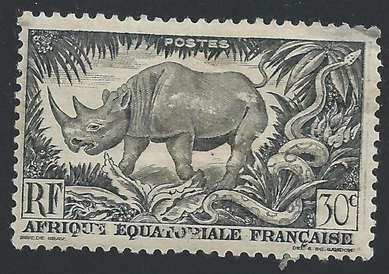 French Equatorial Africa #167 30c Black Rhinoceros