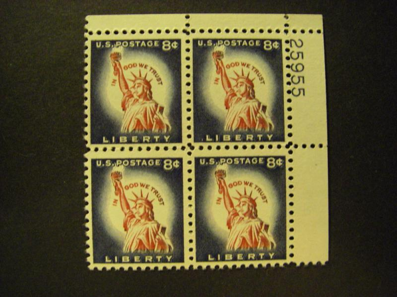 Scott 1042, 8c Statue of Liberty, PB4 #25955 UR, MNH Beauty