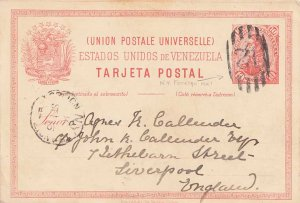 Venezuela 10c San Martin Postal Card 1894 Numeral 12 in Grid to Liverpool, En...