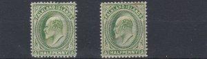 FALKLAND ISLANDS 1904 - 12  S G 43 + 43C  2 X 1/2  VALUES  MH